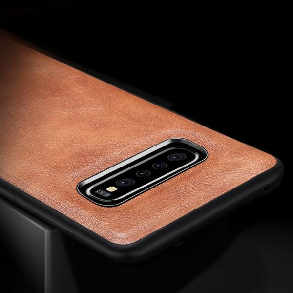 Original Leather Soft Silicone Edge Back Case For Samsung Galaxy S10 / S10 Plus / S10 Lite