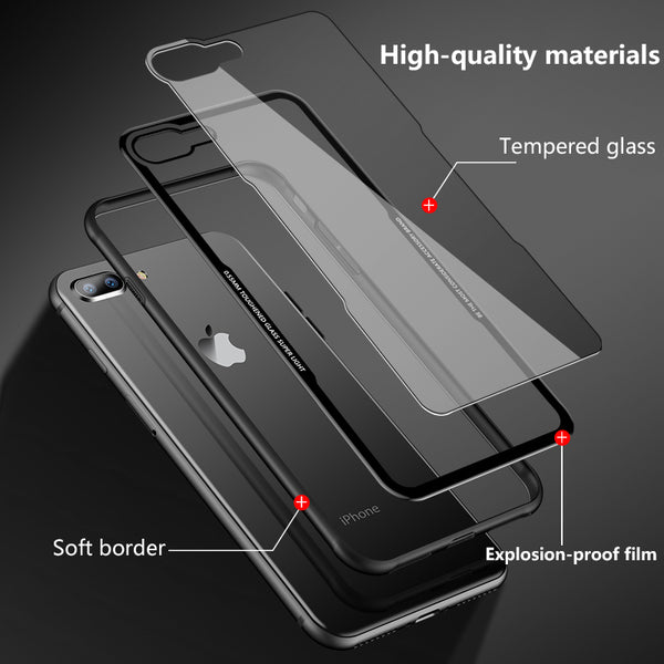 Ultra Thin Transparent Glass Back Cover For iPhone 7/8 Plus