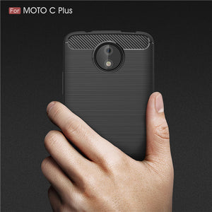 Carbon Fiber Soft TPU Cases For Motorola Moto C Plus