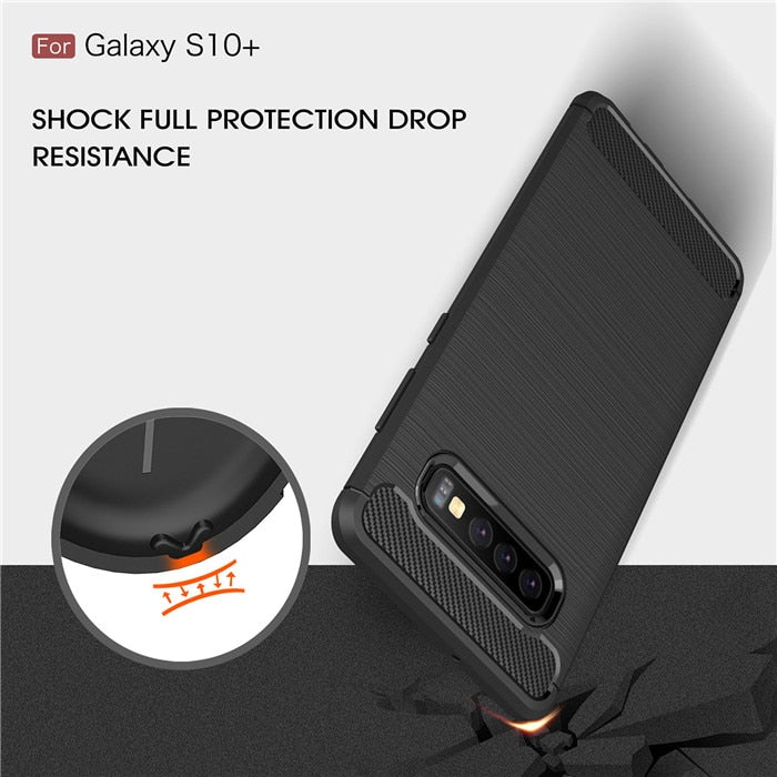 Carbon Fiber Texture Shockproof Case for Samsung S10 / S10 Plus / S10 Lite
