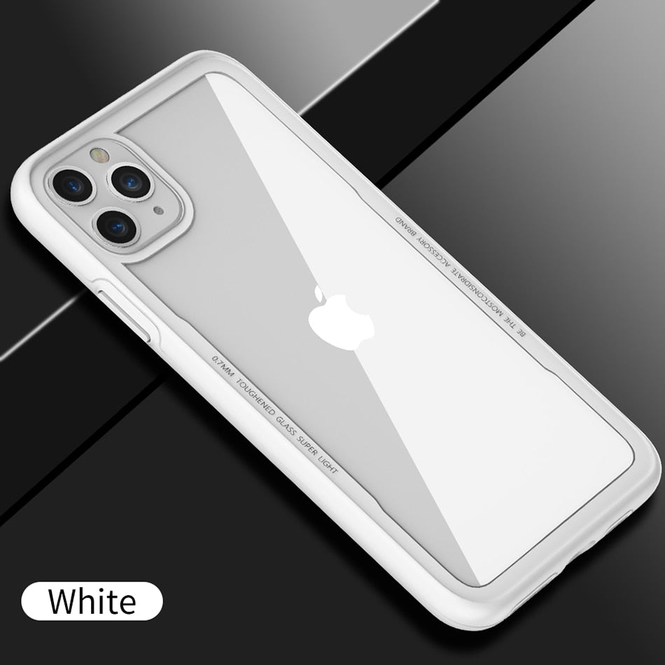 Transparent Protective Tempered Glass Case For iPhone