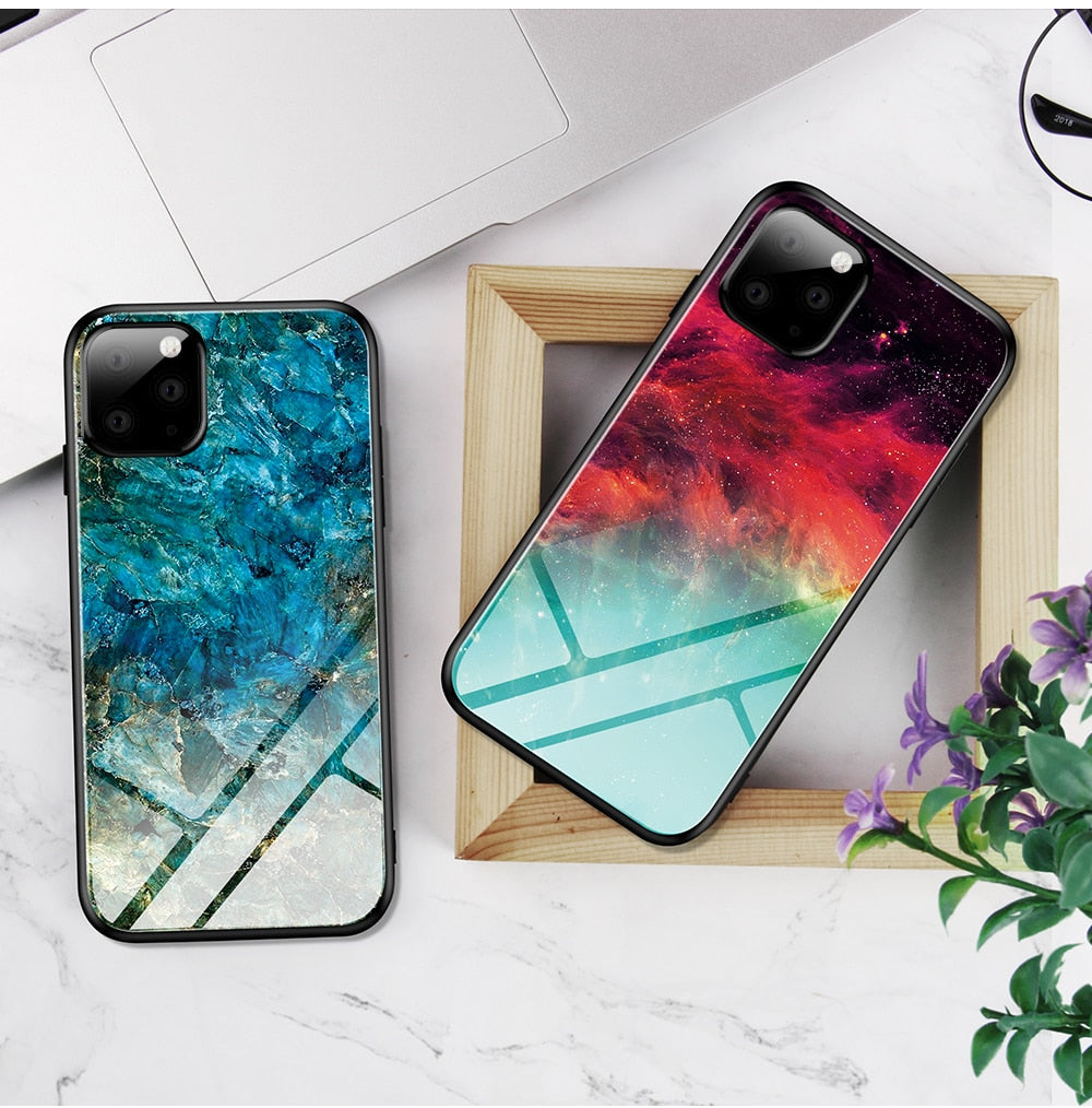 Colorful Tempered Glass Gradient Phone Case For iPhone 11 Series
