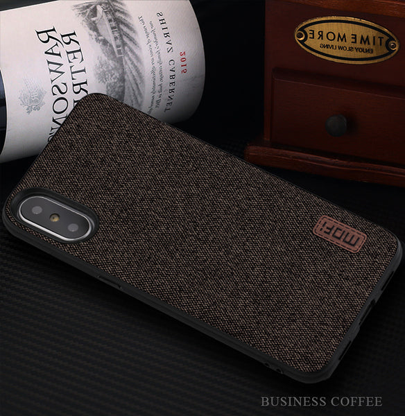 Luxury Fabric Back Case for iPhone X