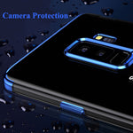 Luxury Soft  Silicone Clear Transparent Plating Cover For Samsung S9 / S9 Plus