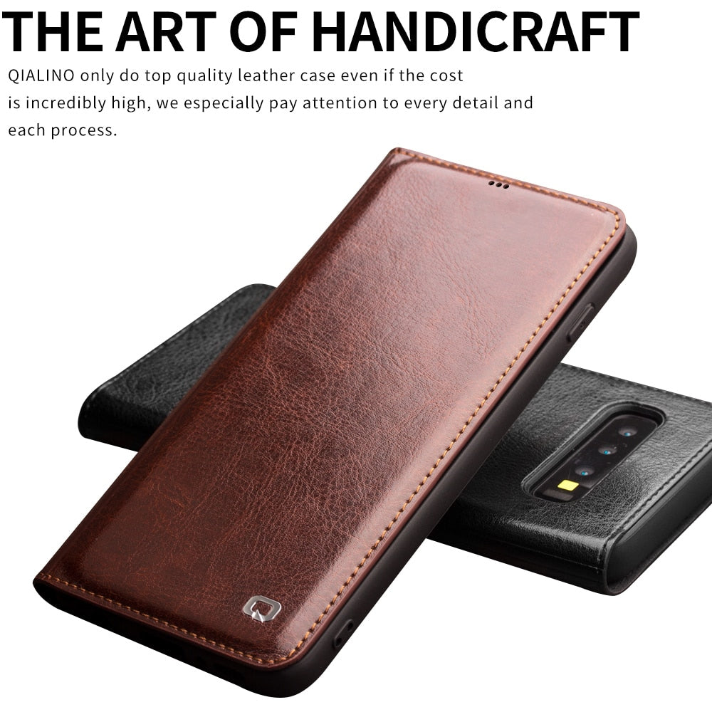 Luxury Genuine Leather Phone Cover for Samsung Galaxy S10 / S10 Plus