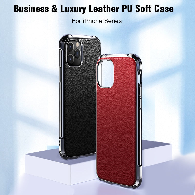 Luxury Leather Soft TPU Case For iPhone 11 Series