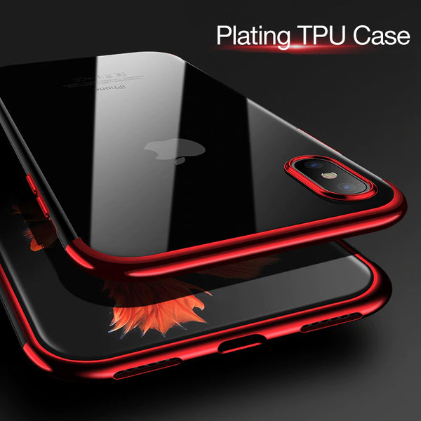 Ultra thin transparent plating case for iPhone X/Xr/Xs/Xs Max