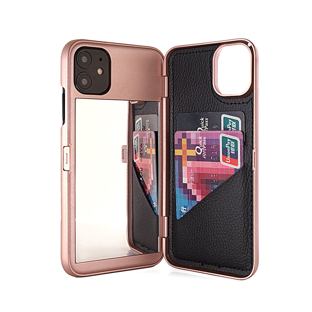 Dual Layer Card Slot Wallet Make Up Mirror Flip Case for iPhone