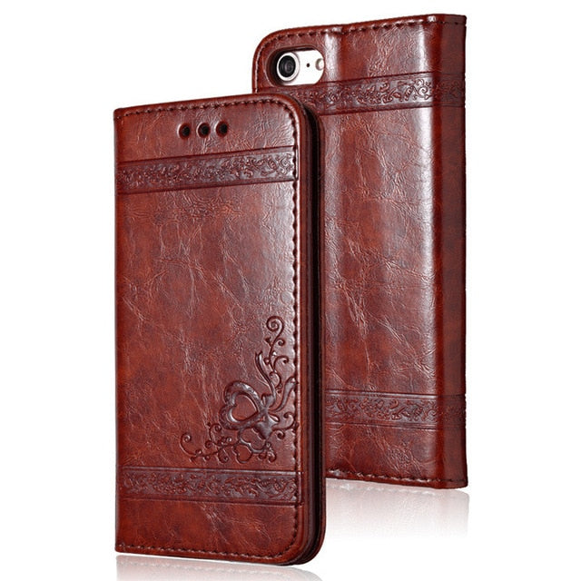 Leather Card Slot Flip Case For iPhone