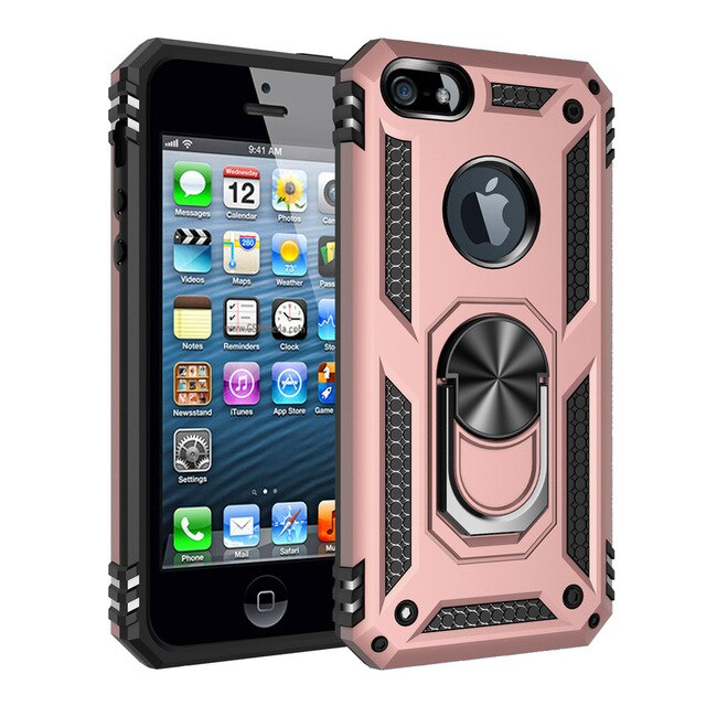 Shockproof Metal Ring Case For iPhone