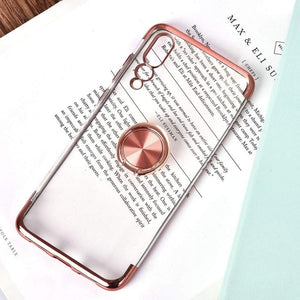 Ultra Plating Case with Magnetic Ring Holder For Huawei