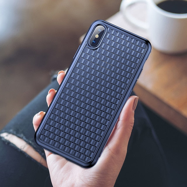 Luxury Weave Soft Silicone  Case For iPhone
