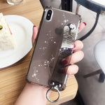 Glitter Transparent Case with Wrist Strap For iPhone