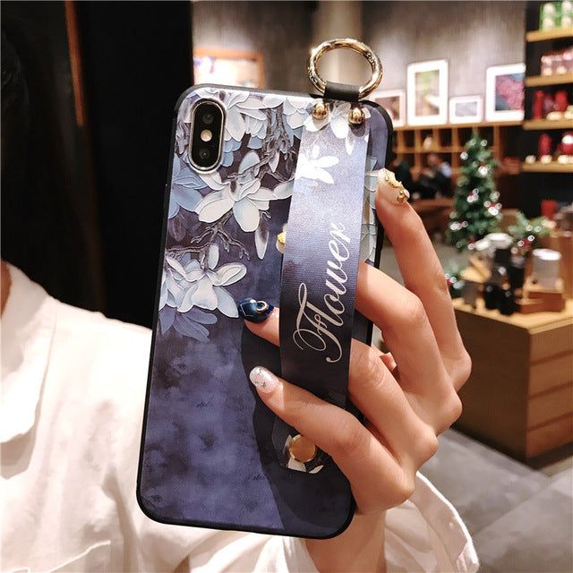 Fashion Flower Phone Case with Wrist Strap For iPhone 11 Series