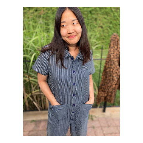 Short Sleeve Jumpsuit - Railroad