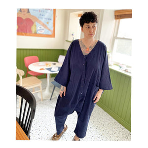Sack Jumpsuit - Navy Gauze
