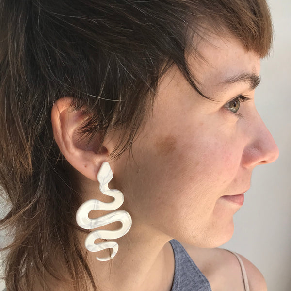 XL Snake Earrings - White