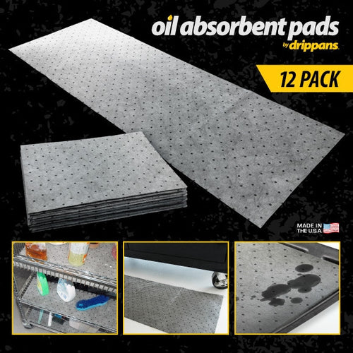 Oil Absorbent Pads - 12 Pack