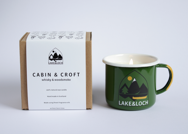 cabin and croft whisky and smoke camping mug candle