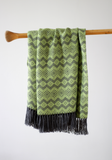 Peruvian Alpaca Blanket Throw Lime Green and Grey