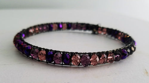 Oil spill purple beaded double wire bracelet - The Treasures of Time: reclaimed and handcrafted goods