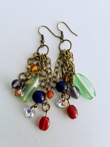 asymmetrical rainbow glass beaded dangling earrings - The Treasures of Time: reclaimed and handcrafted goods