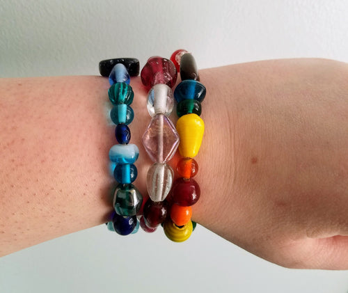 chunky colorful glass bead elastic bracelet - The Treasures of Time: reclaimed and handcrafted goods