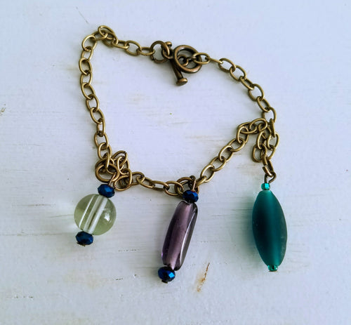 simple elegant charm bracelet - The Treasures of Time: reclaimed and handcrafted goods