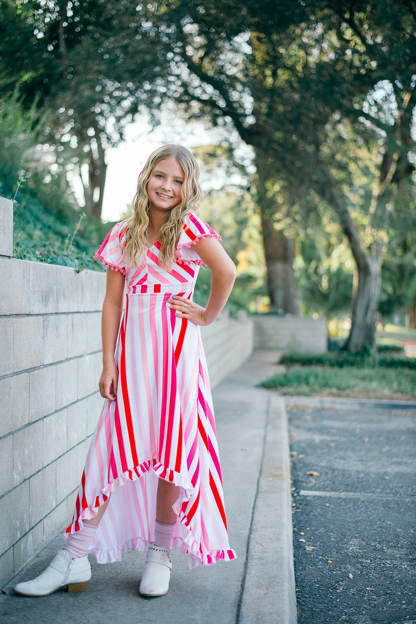 Pink Ombré High-Low Maxi Dress