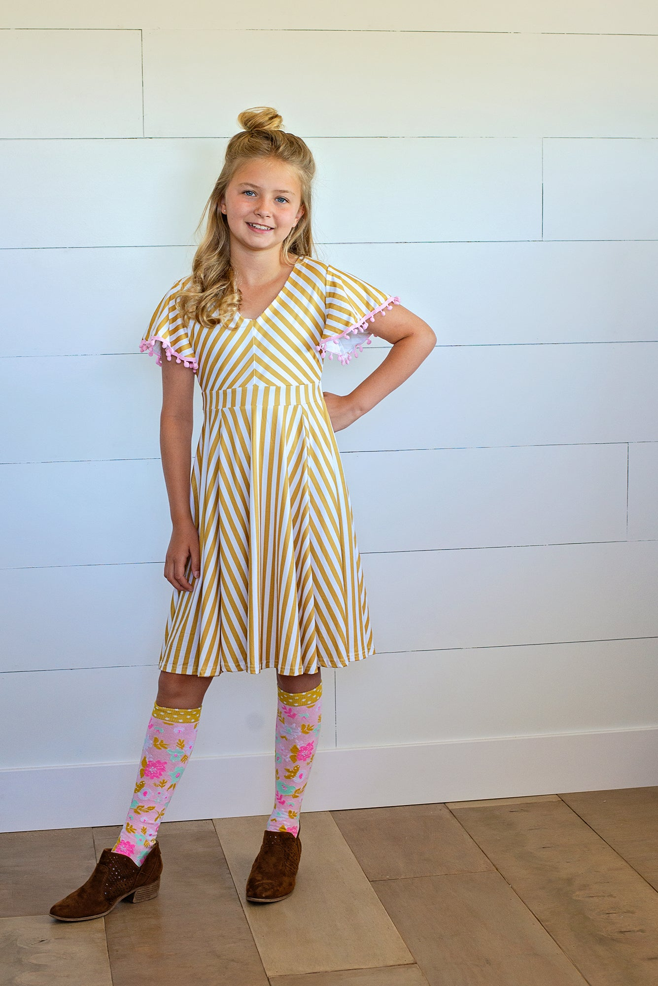 Simple Stripes Girls Twirl Dress