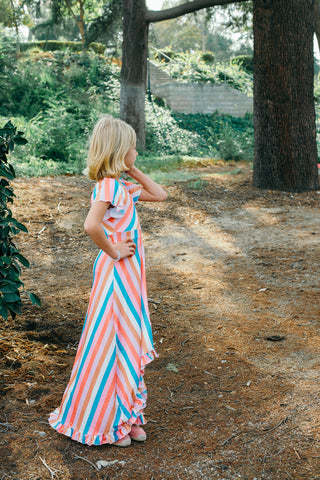 Blush Rainbow Midi Twirl Dress
