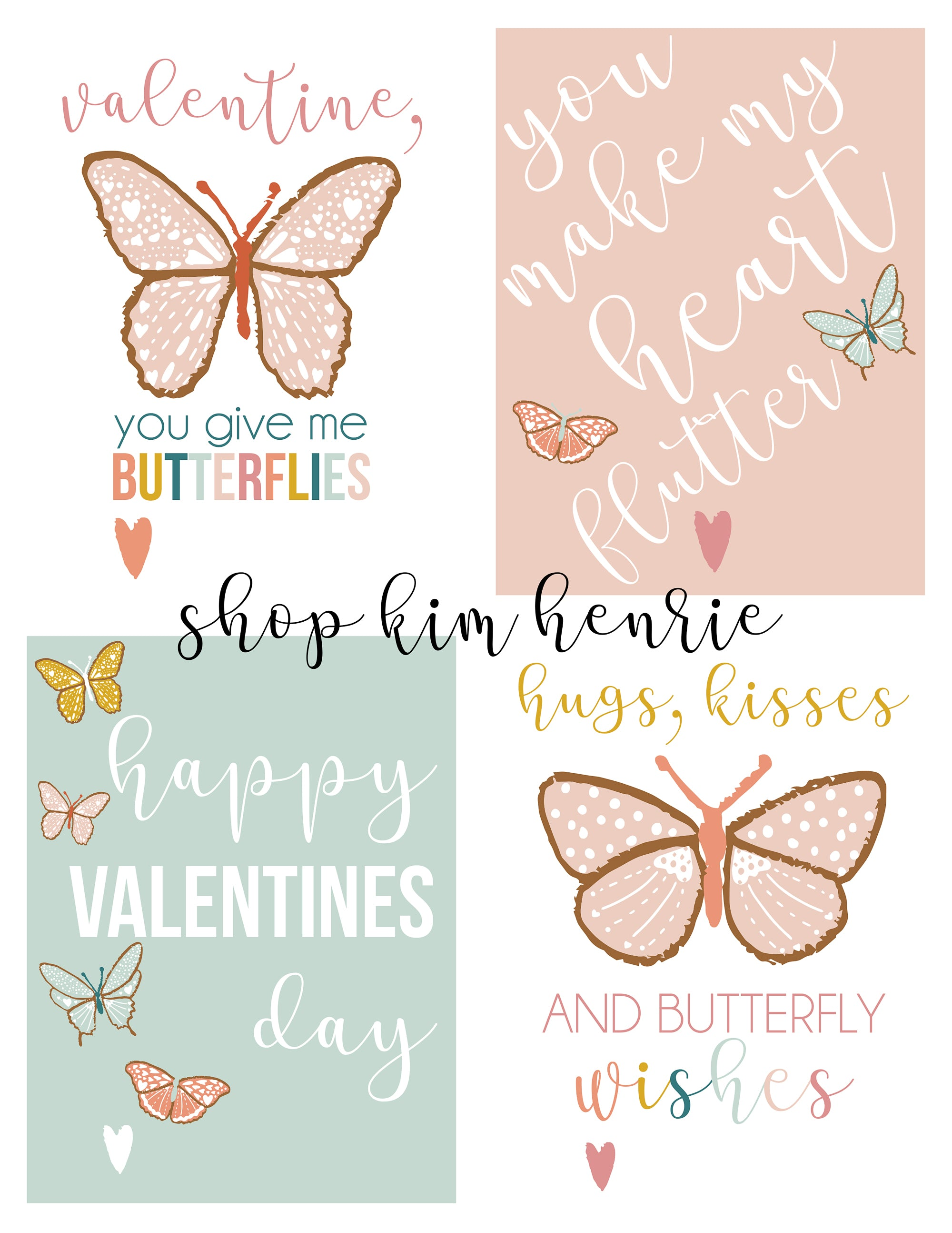 Butterfly Valentines Day Card Printables