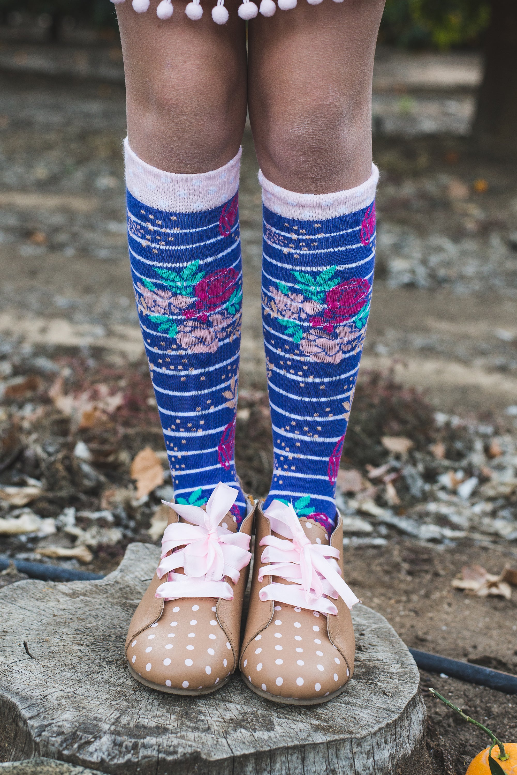 Bold Floral + Stripe Knee-High Socks