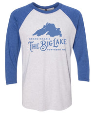 3/4 Sleeve Shirt - Blue & Heathered White