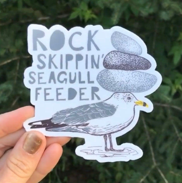 Rock Skippin' Seagull Sticker