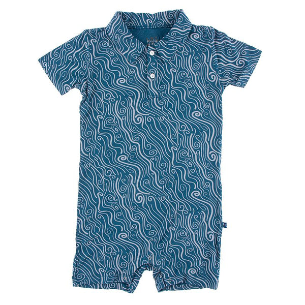 Polo Romper: Twilight Whirling River