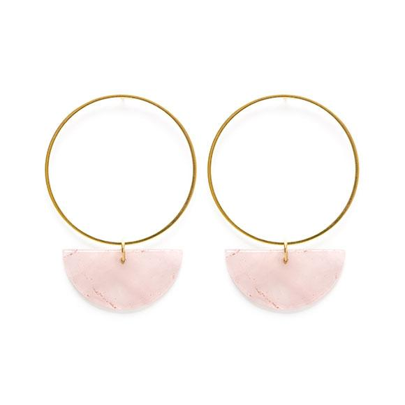Sun & Moon Stud: Rose Quartz