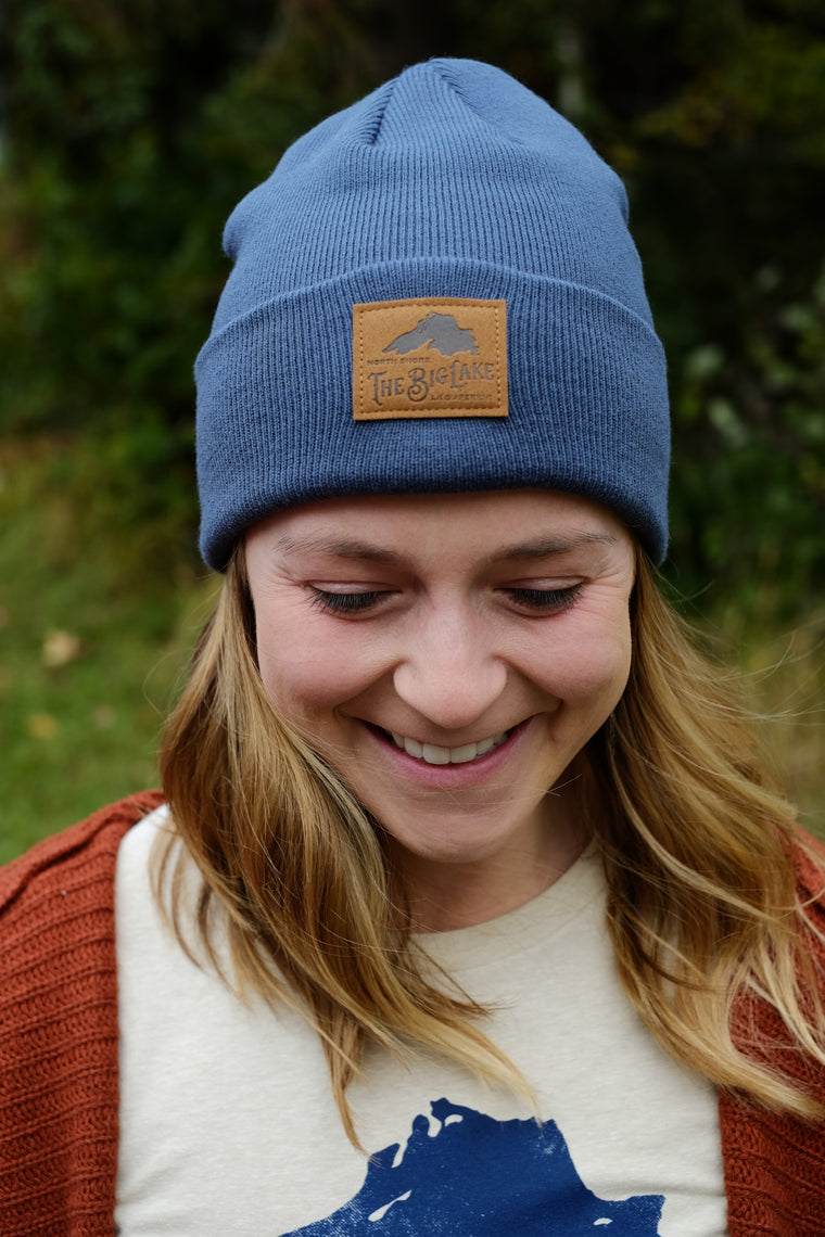 Blue Big Lake Beanie w/ Leather Logo