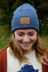 Blue Fisherman Beanie w/ Leather Logo