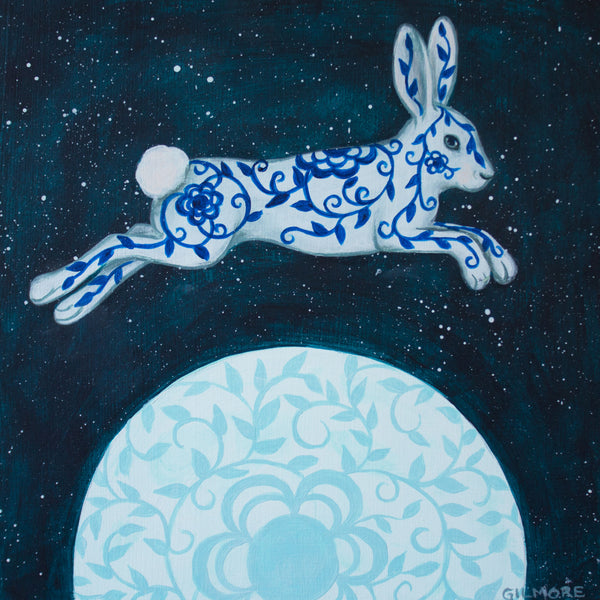 """Rabbit Over The Moon"" ORIGINAL PAINTING"