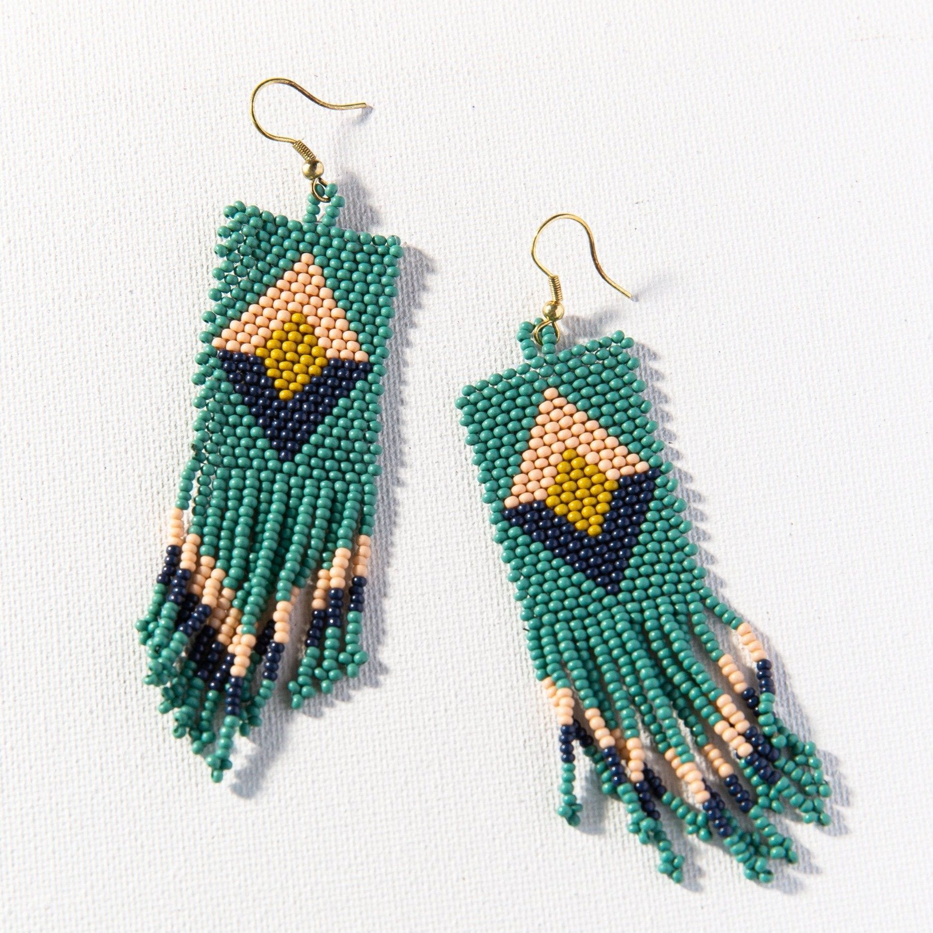 Teal Pink Citron Navy Seed Bead Earring