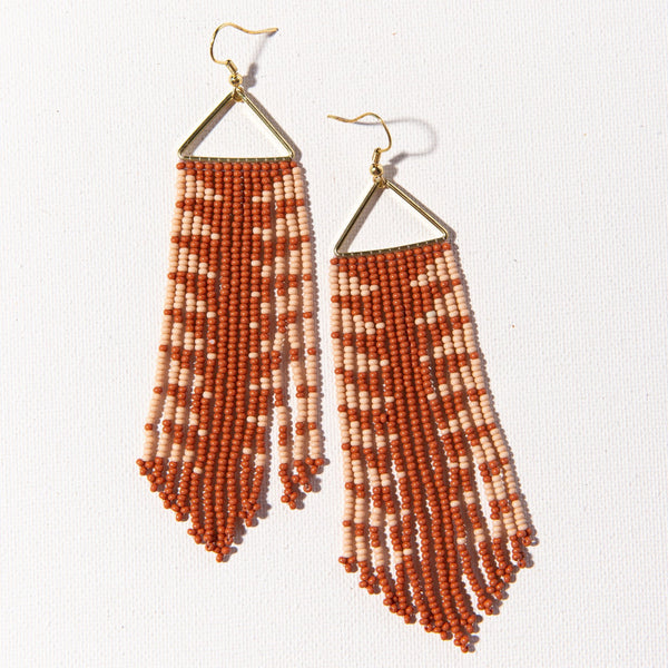 Rust And Pink Arrow Fringe Earring
