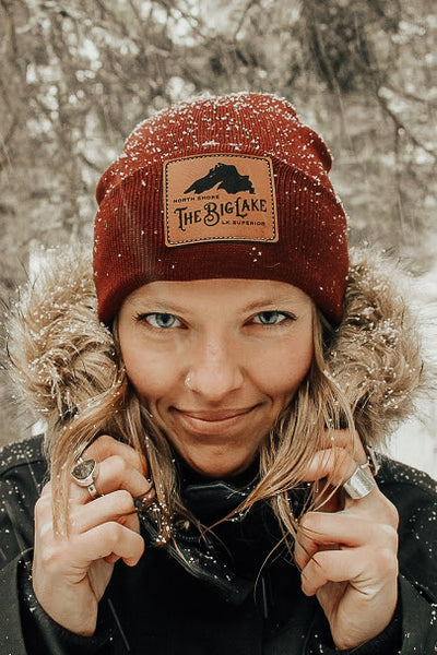 Big Lake Beanie w/Leather Patch: Maroon, Brown -or- Charcoal