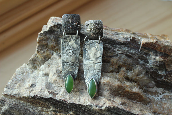 Fused Sterling & Jade Earrings