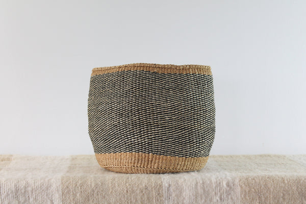 Black and Tan Sisal Basket
