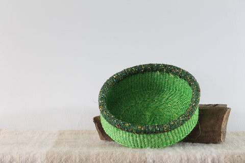 Green With Beads Sisal Basket