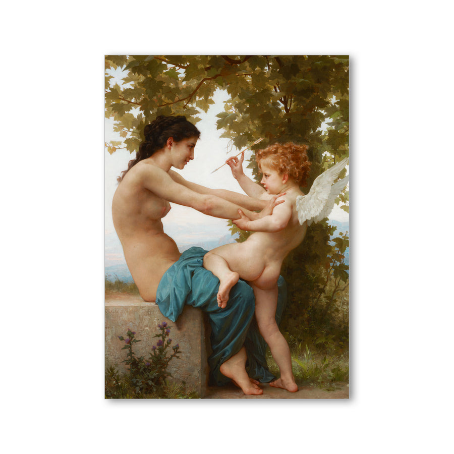 Bouguereau - <i>A Young Girl Defending Herself Against Eros</i> - Postcard