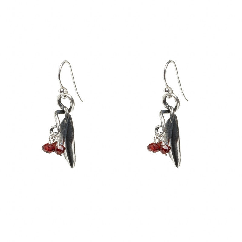 Pomegranate Leaf Earrings with Garnet Clusters