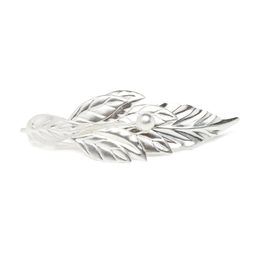 Laurel Leaf Barrette - Silver Plated