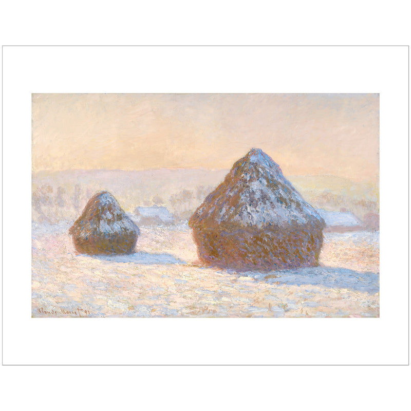 "Monet - <i>Wheatstacks, Snow Effect, Morning</i> 11"" x 14"" Print"
